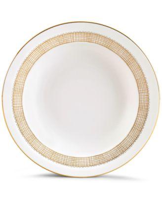 Gilded Weave Gold Rim Soup Bowl