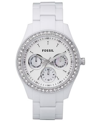 Fossil Women's Stella White Resin Bracelet Watch 37mm ES1967