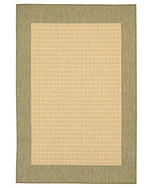 "CLOSEOUT! Couristan Area Rug, Recife Indoor/Outdoor 1005/5005 Checkered Field Natural-Green 2' 3"" x 11' 9"" Runner"