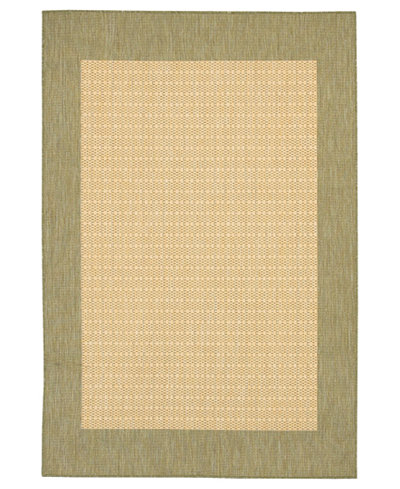 CLOSEOUT! Couristan Area Rug, Recife Indoor/Outdoor 1005/5005 Checkered Field Natural-Green 3' 9