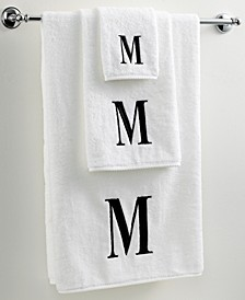 Bath Towels, Initial Black and White Collection