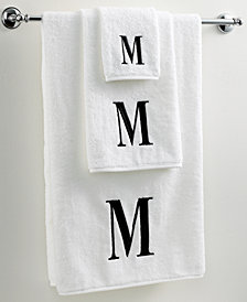 Avanti Bath Towels, Initial Black and White Collection