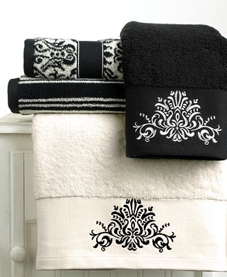 Closeout Bianca Black And White Towel Collection Bath Towels Bed Bath Macy 39 S
