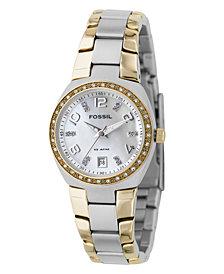 Fossil Women's Two Tone Stainless Steel Bracelet Watch AM4183
