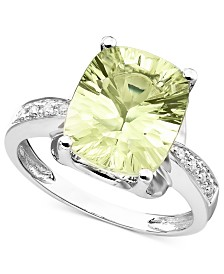 14k White Gold Ring, Green Quartz (4-3/8 ct. t.w.) and Diamond Accent