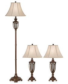 kathy ireland home by Pacific Coast Estate Collection Set: 1 Floor Lamp and 2 Table Lamps