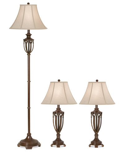Kathy ireland home by pacific coast estate collection set 1 floor lamp and 2 table