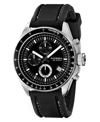 Fossil Men's Chronograph Decker Black Silicone Strap Watch 44mm CH2573