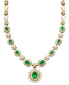 Royalty Inspired by EFFY® Emerald (3-3/8 ct. t.w.) and Diamond (1-2/3 ct. t.w.) Necklace in 14k White Gold, Created for Macy's