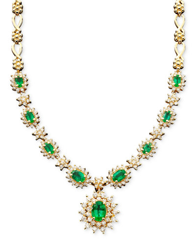 Royalty Inspired by EFFY Emerald (3-3/8 ct. t.w.) and Diamond (1-2/3 ct. t.w.) Necklace in 14k White Gold, Created for Macy's