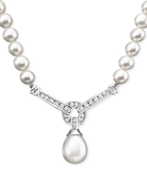 14k White Gold Necklace, Cultured Freshwater Pearl and Diamond (1/3 ct. t.w.) Necklace