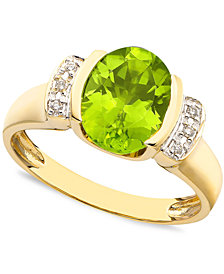 14k Gold Peridot (2-3/5 ct. t.w.) & Diamond Accent Oval Ring