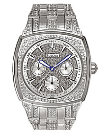 Bulova Men's Crystal Accented Silver-Tone Bracelet Watch 96C002
