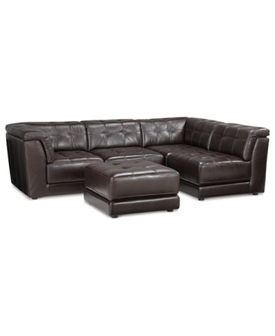 Stacey Leather 5-Piece Modular Sofa - Stacey Leather 5-Piece Modular Sofa - Furniture - Macy's