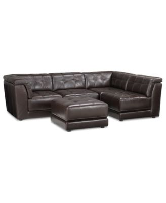 stacey leather 5piece modular sofa