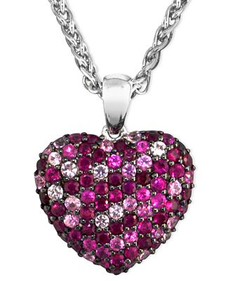 Balissima by EFFY Pink Sapphire (1-5/8 ct. t.w.) and Ruby (1-5/8 ct. t.w.) Heart Pendant in Sterling Silver
