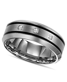Tungsten Ring, Diamond Wedding Band (1/10 ct. t.w.)