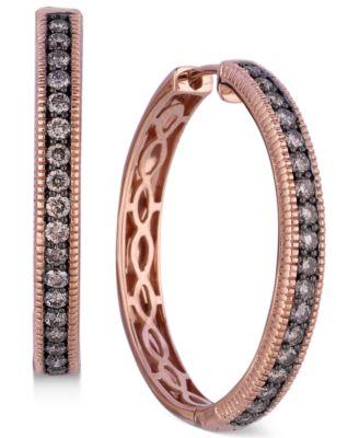 Chocolate Diamond Hoop Earrings in 14k Rose Gold (5/8 ct. t.w.)