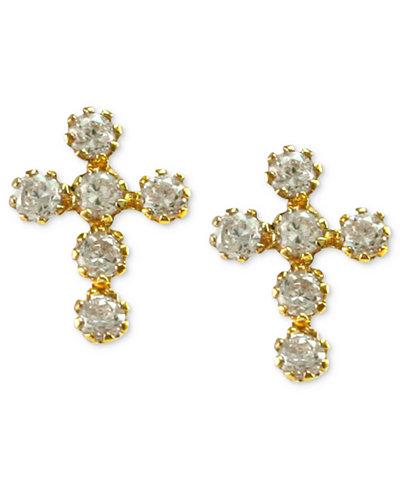 Children's 14k Gold Earrings, Cubic Zirconia Cross