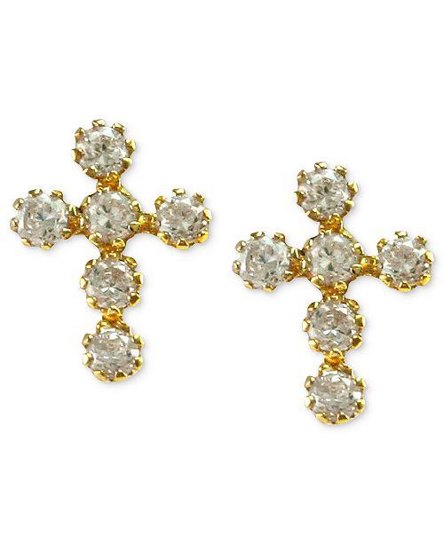 Macy's Children's 14k Gold Earrings, Cubic Zirconia Cross