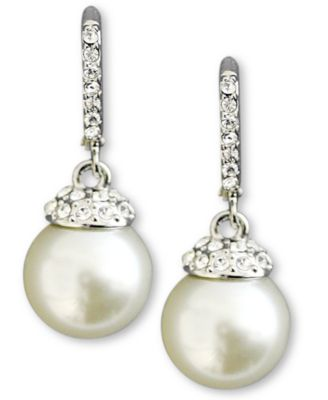 Image of Givenchy Earrings, Crystal Accent and White Glass Pearl