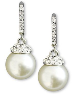 Earrings, Crystal Accent And White Glass Pearl in Silver