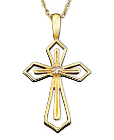 14k White or Yellow Gold Pendant, Diamond Accent Cross