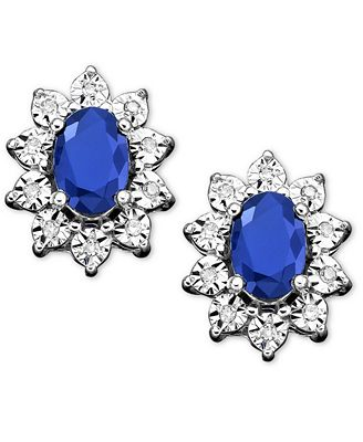 10k White Gold Earrings Sapphire 1 1 3 ct t w and Diamond