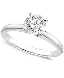 Engagement Ring, Certified Colorless Diamond (1 ct. t.w.) and 18k White Gold