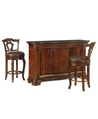 Toscano Home Bar, 3 Piece Set (Bar And 2 Bar Stools). Furniture