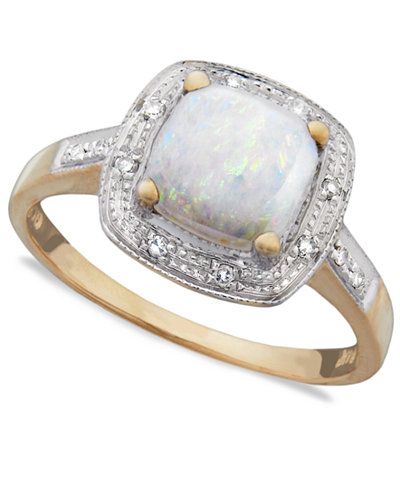10k Gold Ring, Opal (9/10 ct. t.w.) and Diamond Accent