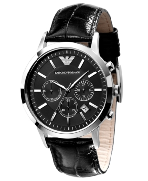 Emporio Armani Watch, Men's Black Leather Strap AR2447