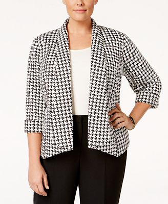 Kasper Plus Size Houndstooth Open-Front Jacket