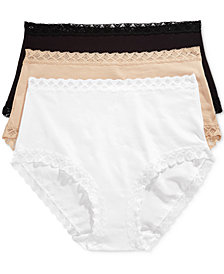 Natori Bliss 3-Pk. Lace-Trim High-Rise Cotton Brief 755058MP