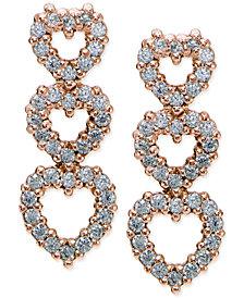 Giani Bernini Cubic Zirconia Pavé Triple Heart Drop Sterling Silver Earrings, Created for Macy's