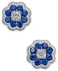 Sapphire (5/8 ct. t.w.) and Diamond (1/10 ct. t.w.) Cluster Stud Earrings in 14k White Gold