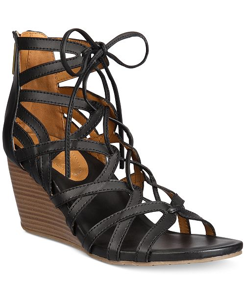 2666e18ca724 Kenneth Cole Reaction Women s Cake Pop Gladiator Lace-Up Wedge Sandals