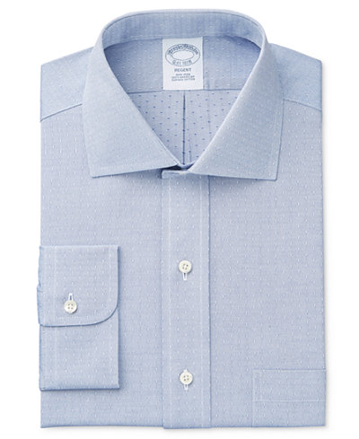 Brooks Brothers Men's Milano Extra-Slim Fit Non-Iron Blue Solid Dress Shirt