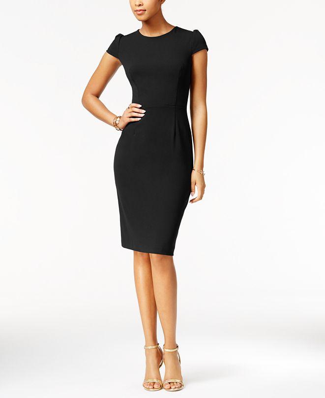 Betsey Johnson Puff-Sleeve Scuba Dress, Created for Macy's