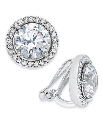 Danori Silver-Tone Crystal Halo Clip-on Earrings, Created for Macy's