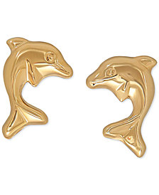 Children's 14k Gold Earrings, Dolphin