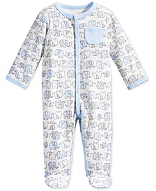 Baby Boys 1-Pc. Elephant-Print Footed Coverall, Created for Macy's