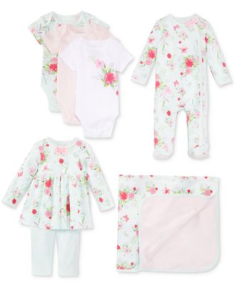 Baby Girls 3-Pk. Dots & Flowers Bodysuits, Created for Macy's