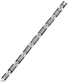Esquire Men's Jewelry Diamond Link Bracelet (1/4 ct. t.w.) in Stainless Steel and Tungsten