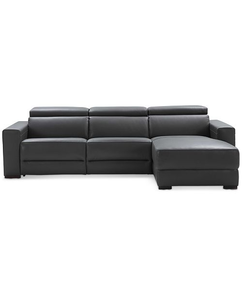 Nevio 3-pc Leather Sectional Sofa with Chaise, 1 Power Recliner and  Articulating Headrests, Created for Macy\'s