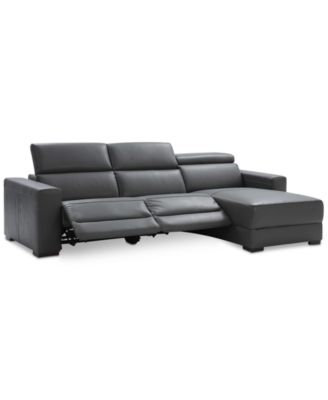 Furniture Nevio 3 Pc Leather Sectional Sofa With Chaise, 2 Power Recliners  And Articulating Headrests, Created For Macyu0027s   Furniture   Macyu0027s