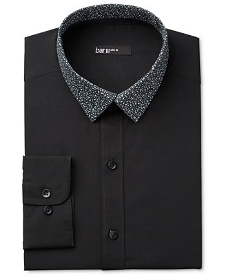 Bar III Men's Interchangeable Collar Slim Fit Black Night Sky Print Dress Shirt, Only at Macy's