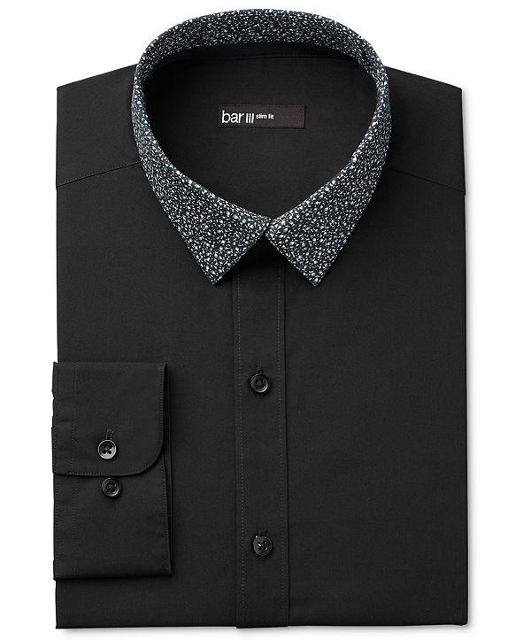 Bar III Men's Interchangeable Collar Slim Fit Black Night Sky Print Dress Shirt, Created for Macy's