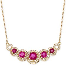 RARE Featuring GEMFIELDS Certified Ruby (1-5/8 ct. t.w.) and Diamond (3/8 ct. t.w.) Fancy Statement Necklace in 14k Gold, Created for Macy's