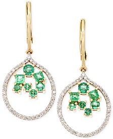 Emerald (7/8 ct. t.w.) and Diamond (3/8 ct. t.w.) Scatter Drop Earrings in 14k Gold